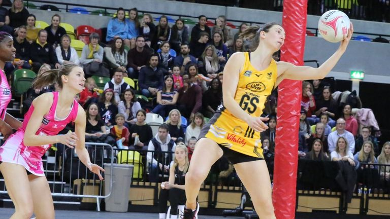 Rachel Dunn starred for Wasps Netball in her 200th Superleague appearance. Credit: Clive Jones