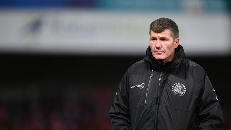 Rob Baxter's Exeter sit top of the Premiership table, but could be overtaken by Saracens on the final day