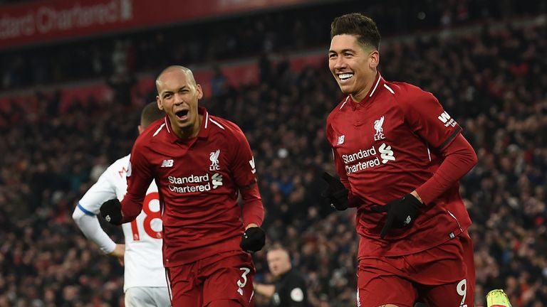 Roberto Firmino celebrates scoring Liverpool's second goal