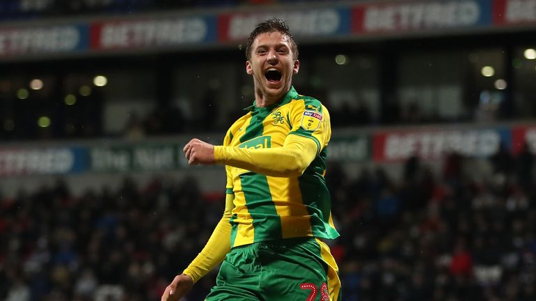 West Brom's Sam Field celebrates scoring his side's second goal