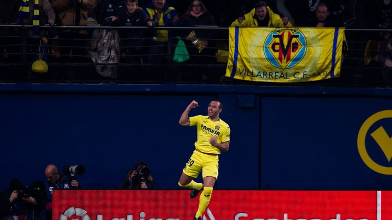 Santi Cazorla celebrates his opener against Real Madrid