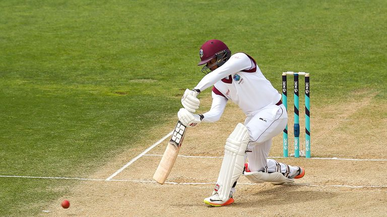 Shai Hope during day four of the Test match series between New Zealand Blackcaps and the West Indies at Basin Reserve on December 4, 2017 in Wellington, New Zealand.