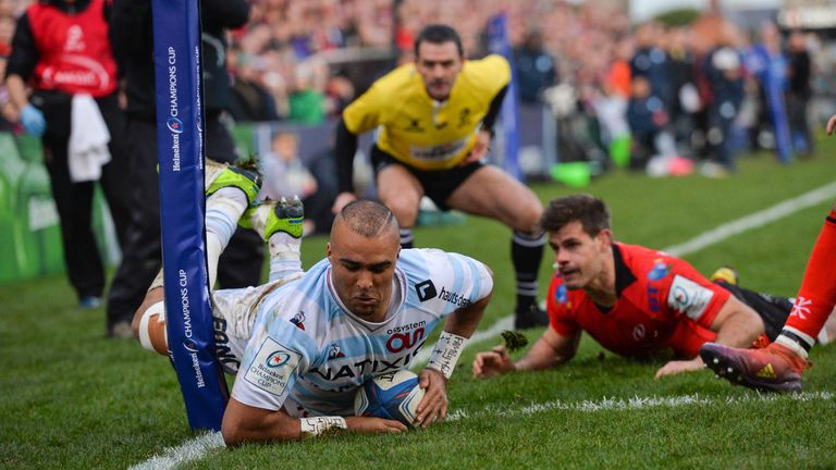 Simon Zebo of Racing 92 goes over in the corner for his side's second try