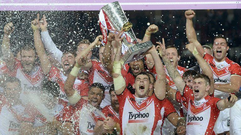 St Helens celebrate winning the Super League Grand Final in 2014