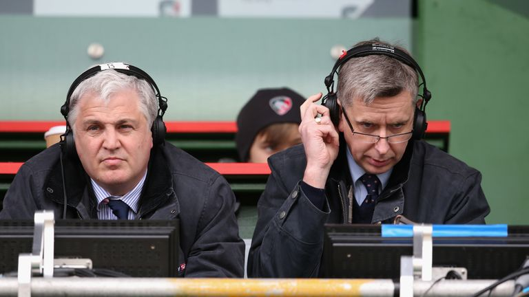 Stuart Barnes and Miles Harrison await the 'throw' from the presenter to begin their match commentary