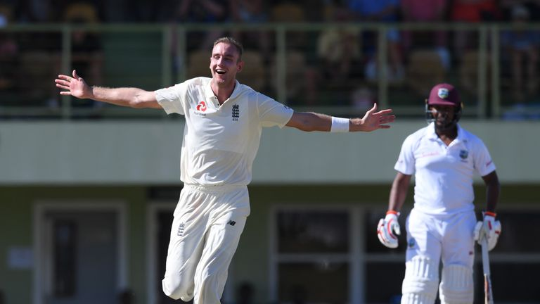 Stuart Broad celebrates taking a hat-trick in England's tour match against a CWI President's XI at Cave Hill, Barbados.