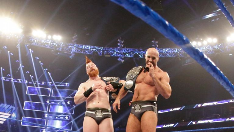 The Bar accepted The Miz's challenge for a tag title match, but only after Sheamus had laid him out with a Brogue Kick