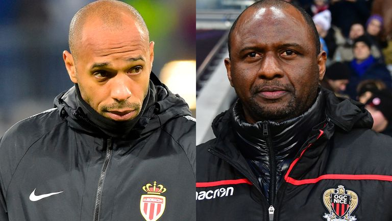 Thierry Henry (left) and Patrick Vieira shared the spoils with a 1-1 draw in Ligue 1 when Monaco and Nice met in January