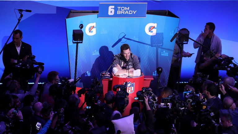 Tom Brady talks to the media at the State Farm Arena in Atlanta