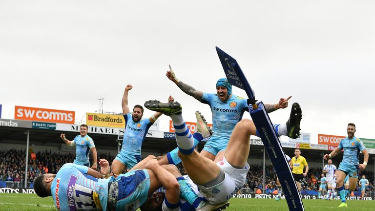 Tom O'Flaherty dives over to score Exeter's bonus-point try at Sandy Park