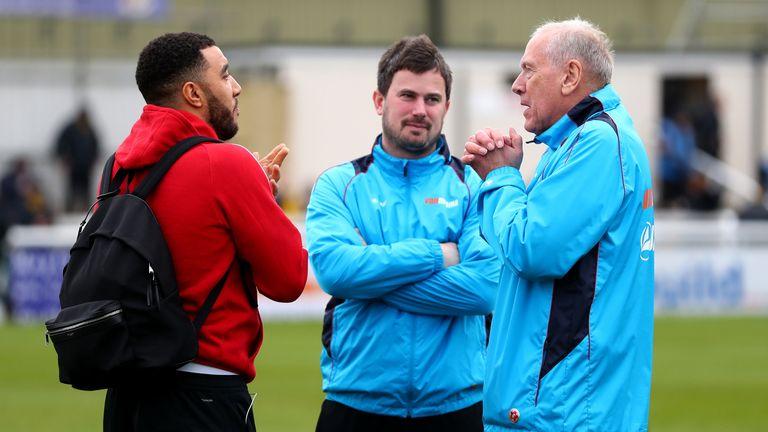 Watford skipper Troy Deeney (left) talks to Martin Tyler ahead of kick-off