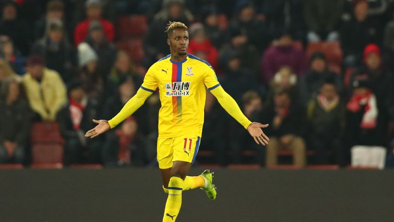 Wilfried Zaha scored and was then sent off in Crystal Palace's 1-1 draw with Southampton