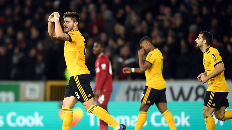 Ruben Neves celebrates knocking Liverpool out
