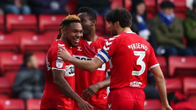 Britt Assombalonga celebrates putting Middlesbrough ahead at Blackburn