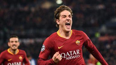 Nicolo Zaniolo celebrates after opening the scoring for Roma against Porto