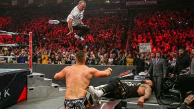 Shane McMahon took to the skies as he and Miz defended the SmackDown tag titles against the Usos