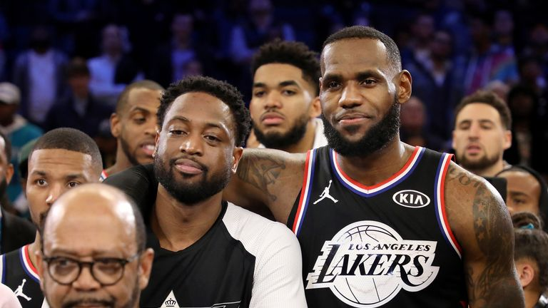 Dwyane Wade and LeBron James pictured at the All-Star Game