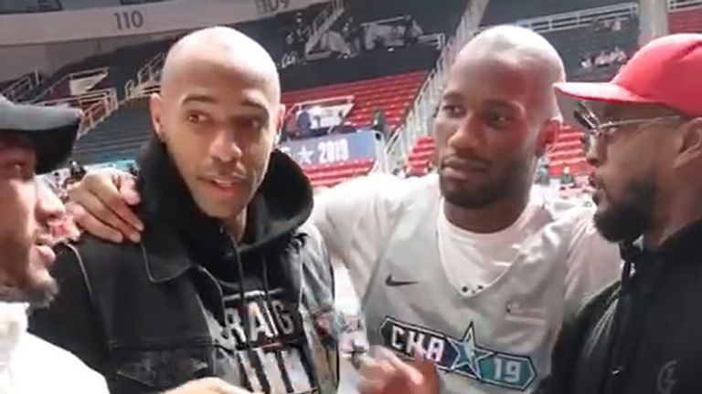 Thierry Henry, Didier Drogba and Patrice Evra courtside at All-Star Game practice