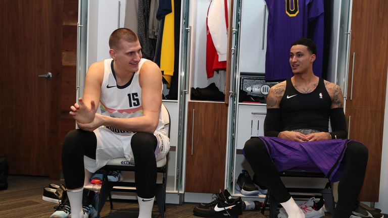 Nikola Jokic in the locker room before the All-Star Skills Challenge