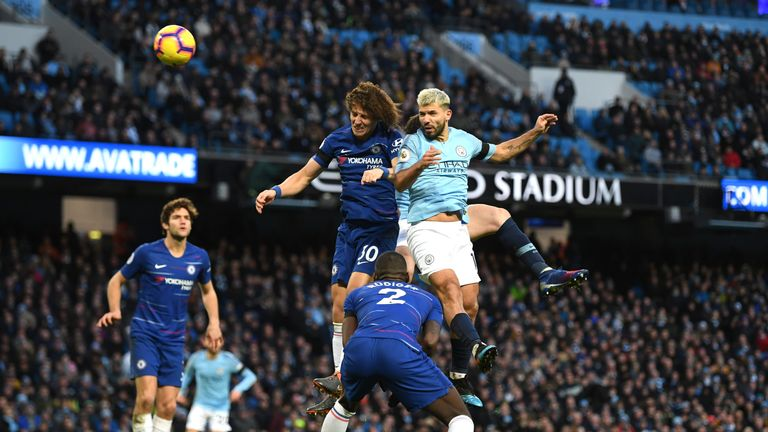 during the Premier League match between Manchester City and Chelsea FC at Etihad Stadium on February 10, 2019 in Manchester, United Kingdom.