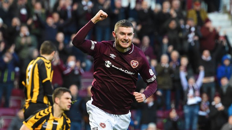 Youngster Aidan Keena celebrates his first goal for Hearts, which clinched a 4-0 win over Auchinleck Talbot