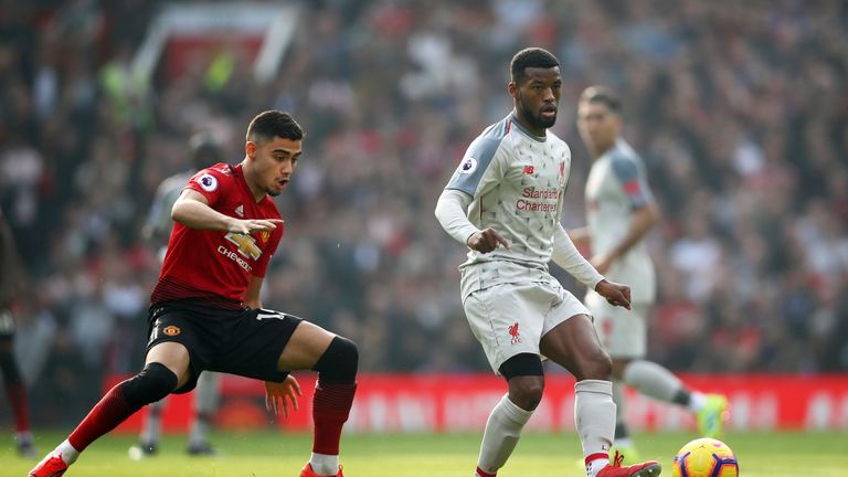 Andreas Pereira and Gini Wijnaldum during the Premier League match between Manchester United and Liverpool