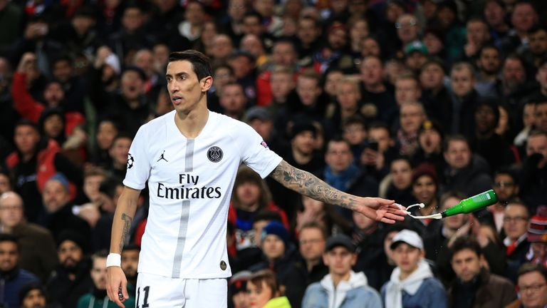 Angel Di Maria had a bottle thrown at him during Tuesday's game at Old Trafford