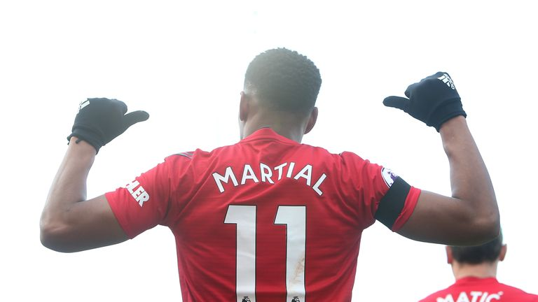 Martial has three goals in eight games for United since Solskjaer took over