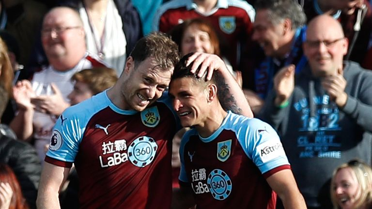Ashley Barnes celebrates his late winner for Burnley against Tottenham