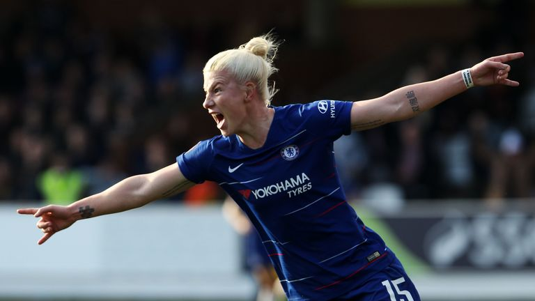 Chelsea's Bethany England celebrates her second goal against Arsenal in their FA Cup tie on Sunday