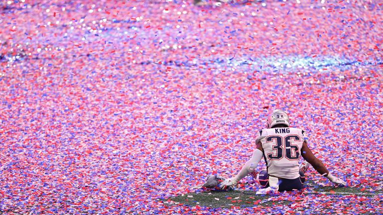 851d543cc Brandon King celebrates amid the confetti after the Patriots  sixth Super  Bowl win
