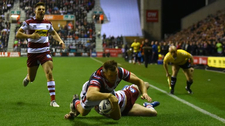 Brett Morris crossed early for Sydney Roosters against Wigan Warriors