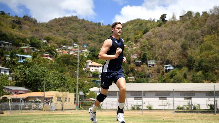 Chris Woakes tests out his knee in England training