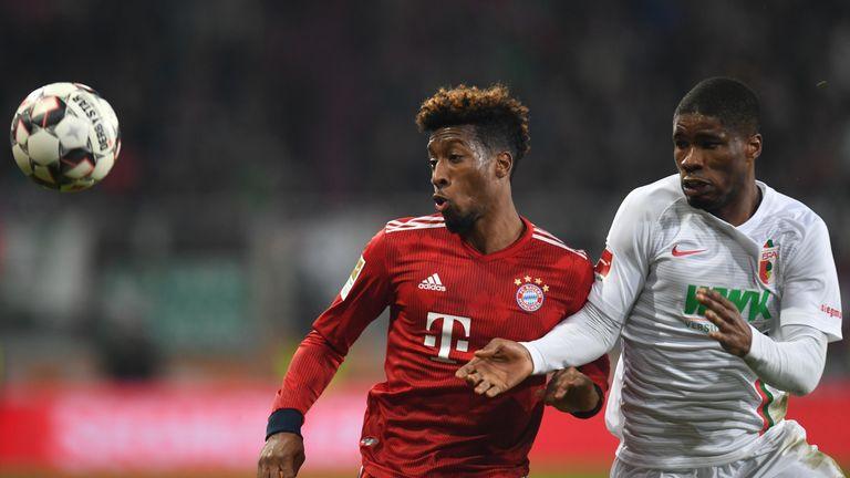 Kingsley Coman scored twice in Bayern's victory at the SGL Arena