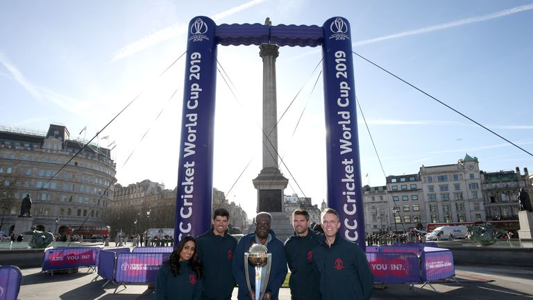Isa Guha, Alastair Cook, Clive Lloyd, James Anderson and Graeme Swann in attendance during the '100 days-to-go' Cricket World Cup celebrations in Trafalgar Square