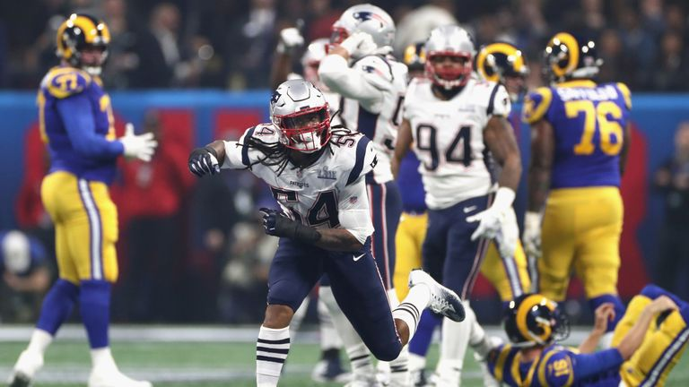 Dont'a Hightower had two tackles, two sacks and three quarterback hits in a great defensive performance for New England
