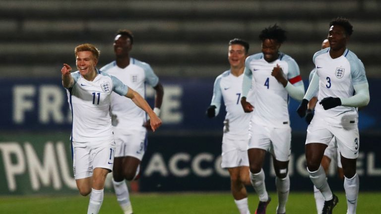 Watmore celebrating a goal for the England U21 side against France in 2016