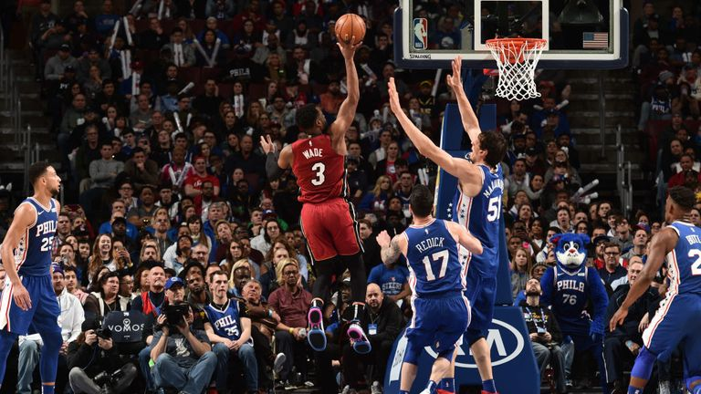 Dwyane Wade of the Miami Heat shoots the ball during the game against the Philadelphia 76ers