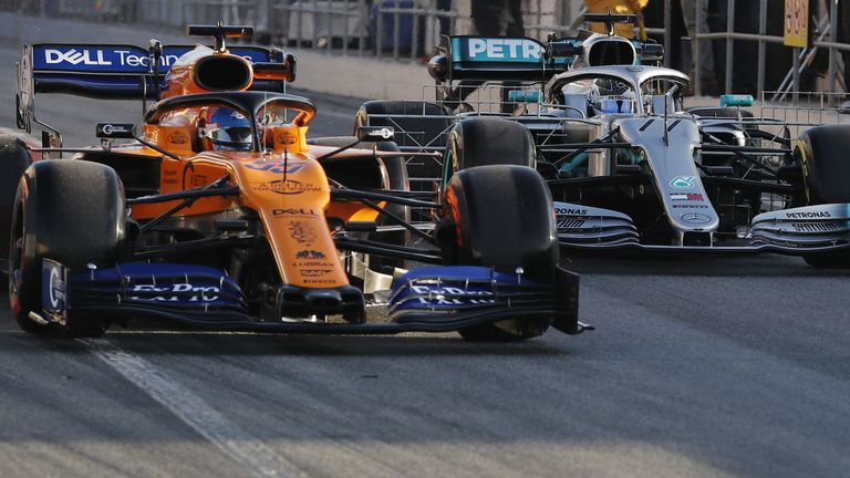 McLaren were quick even before the green light - Carlos Sainz was first onto the track ahead of Valtteri Bottas