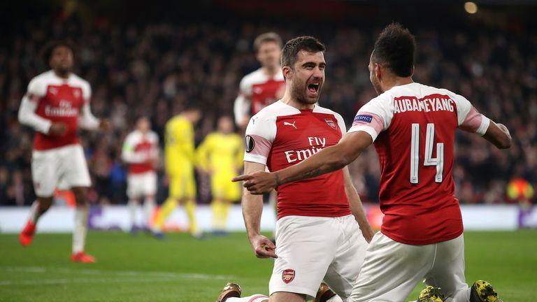 Sokratis Papastathopoulos (left) celebrates scoring Arsenal's third goal against BATE with Pierre-Emerick Aubameyang