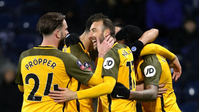 Brighton & Hove Albion's Glenn Murray (centre) celebrates scoring his sides second goal of the game