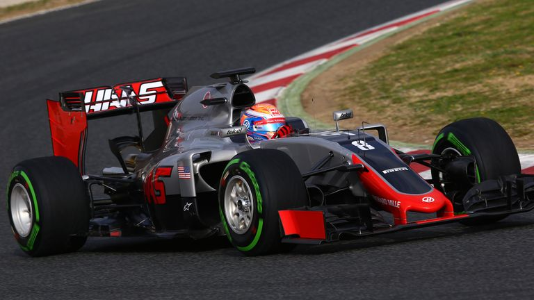 The first-ever Haas Formula 1 car on track during Barcelona testing in 2016