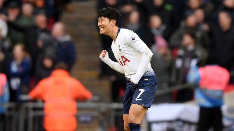 Heung-min Son celebrates his goal