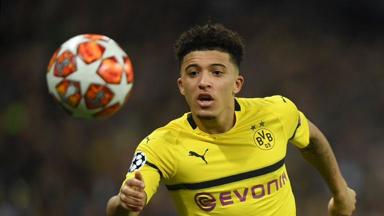 Jadon Sancho started on the right of Dortmund's attack
