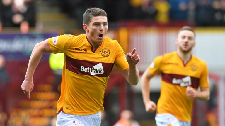 Jake Hastie wheels away in delight after firing Motherwell 1-0 in front on Sunday