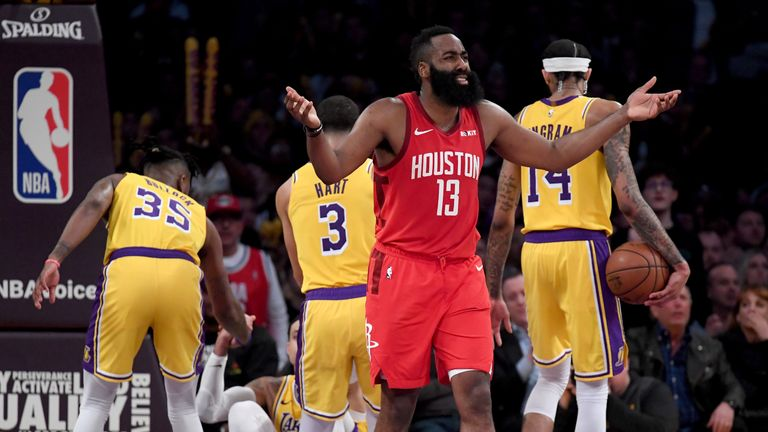 James Harden #13 of the Houston Rockets reacts to his fifth foul during a 111-106 loss to the Los Angeles Lakers win at Staples Center on February 21, 2019 in Los Angeles, California.