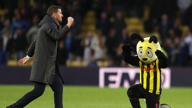Harry the Hornet led the adulation towards Gracia at the full-time whistle