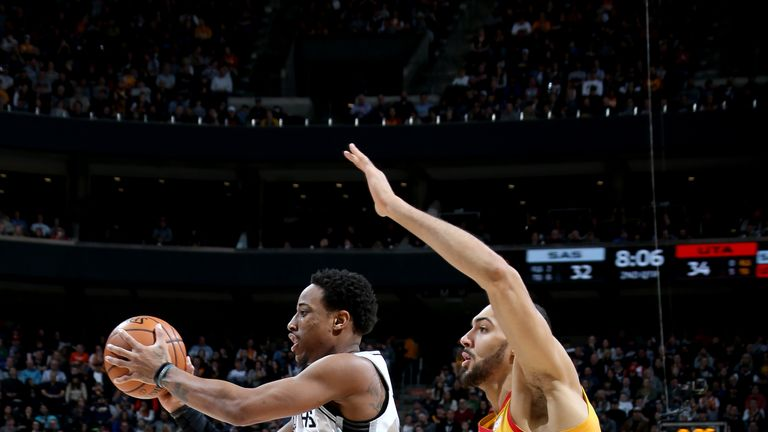 SALT LAKE CITY, UT - FEBRUARY 9: DeMar DeRozan #10 of the San Antonio Spurs handles the ball against the Utah Jazz on February 9, 2019 at Vivint Smart Home Arena in Salt Lake City, Utah. NOTE TO USER: User expressly acknowledges and agrees that, by downloading and or using this Photograph, User is consenting to the terms and conditions of the Getty Images License Agreement. Mandatory Copyright Notice: Copyright 2019 NBAE (Photo by Melissa Majchrzak/NBAE via Getty Images)