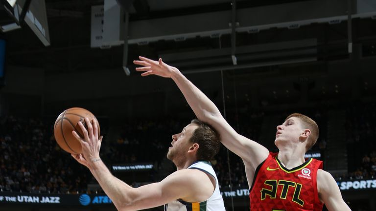 SALT LAKE CITY, UT - FEBRUARY 1: Joe Ingles #2 of the Utah Jazz shoots the ball against the Atlanta Hawks on February 1, 2019 at vivint.SmartHome Arena in Salt Lake City, Utah