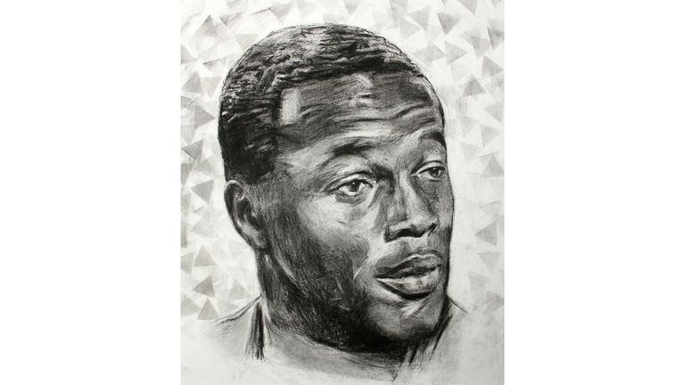'Interview' (2018) is one of several charcoal portraits of Fashanu by Yates